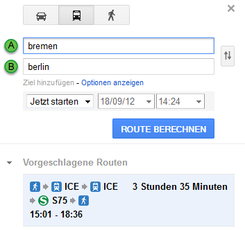 Google Transit in Aktion