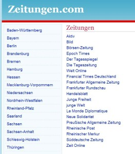 Liste Tageszeitungen