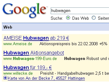 Google AdWords mit Maps-Symbol