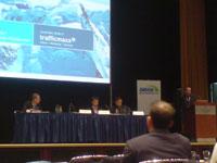 Tobias Ihde (trafficmaxx) bei seinem Kurzvortrag zum Thema Suchmaschinenoptimierung und Social Bookmarking auf der SMX am 08.04.2008