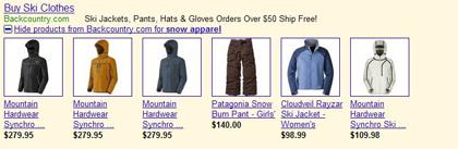 Googles Shopping Ergebnisse