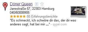 Google Places Eintrag von Döner Queen in Hamburg