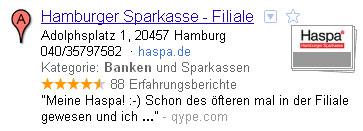 Google Place Eintrag der Hamburger Sparkasse