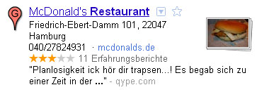 Google Places Eintrag eines Mc Donald Restaurant in Hamburg