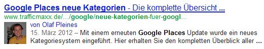 Ein Beispiel für die Anzeige von Google Authorship