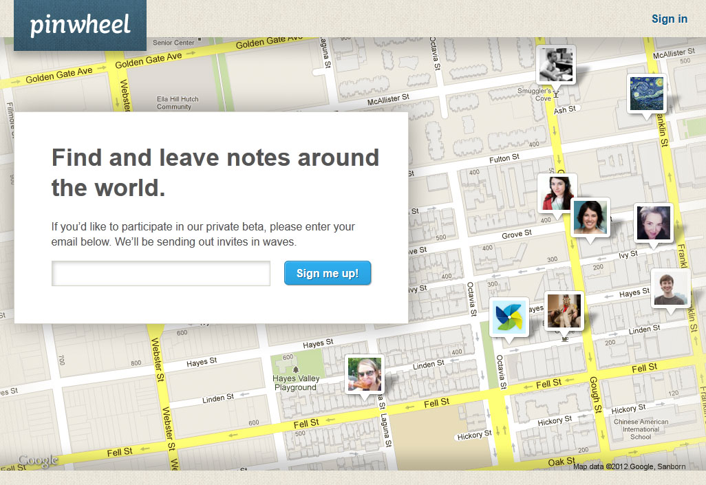 Pinwheel find and leave Notes around the world