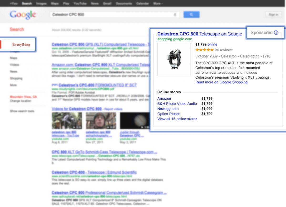 Google Shopping Einblendung einer strukturierten Übersicht