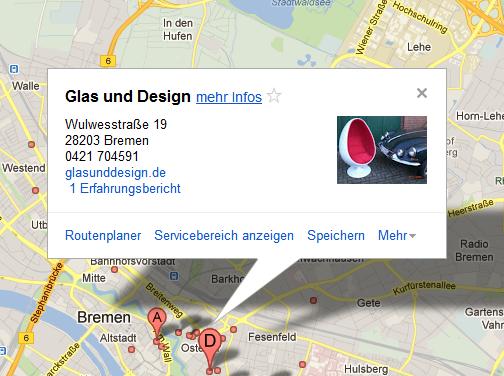 Infokasten bei Google Maps