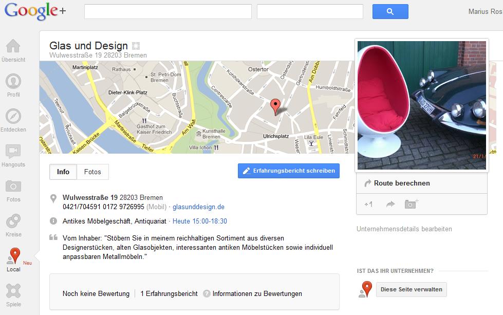 Geschäft bei Google+