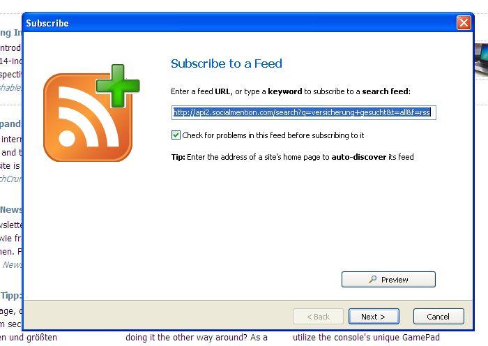 RSS Reader in Netvibes