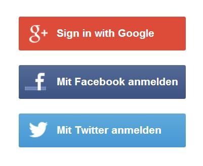 Sign In Optionen sozialer Netzwerke