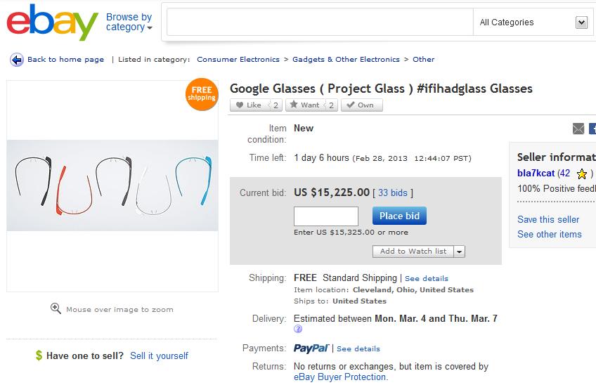 Google Glasses bei Ebay