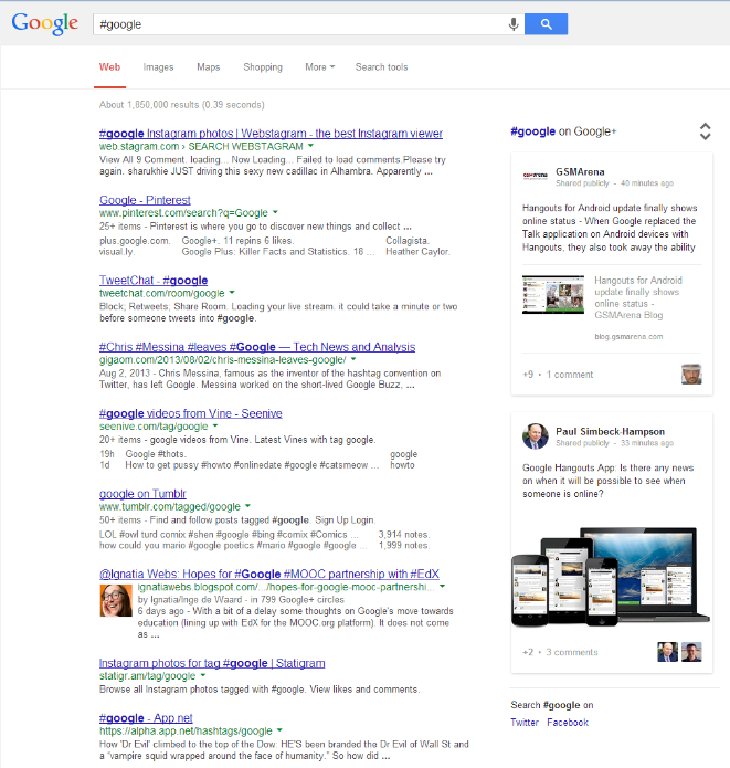 Hashtag bei Google2