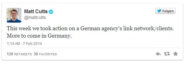 Matt Cutts deutsches Linknetzwerk und Kunden abgestraft