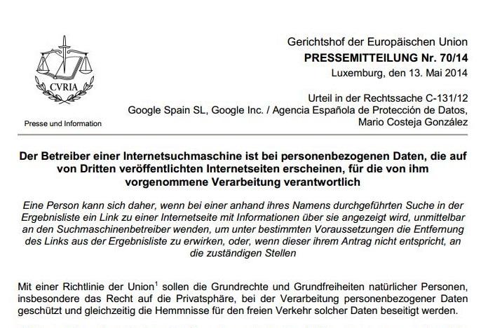 Pressemitteilung EuGH 70/14
