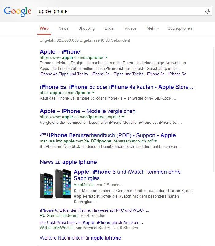 Google News Websuche