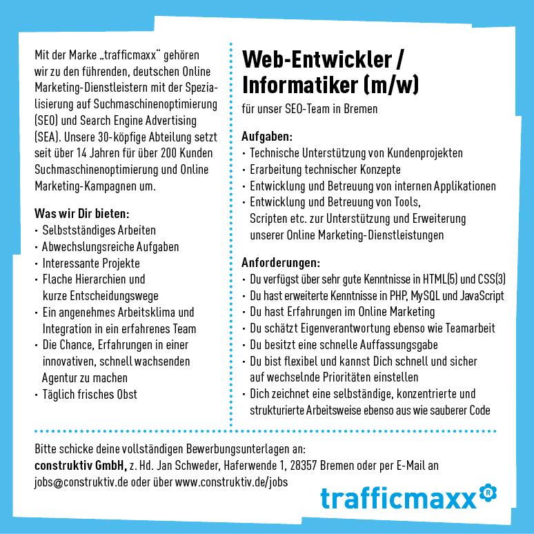 Web-Entwickler/Informatiker (m/w) trafficmaxx Bremen