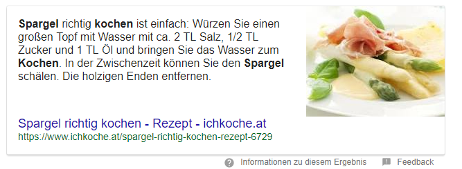 Darstellung Featured Snippet