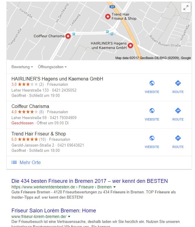 Local SEO Suchergebnisse