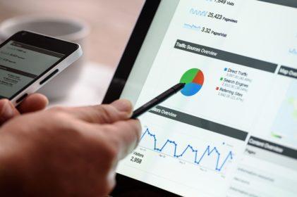 Bildschirm mit Analytics-Auswertungen