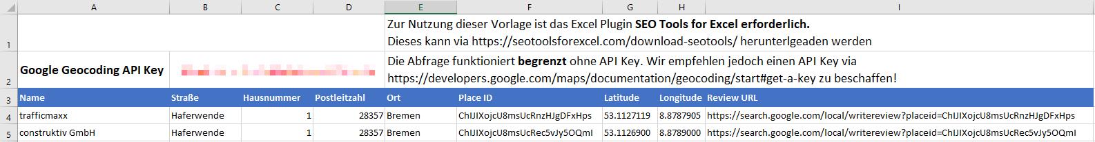Google Geocoding API SEO Tools for Excel Vorlage