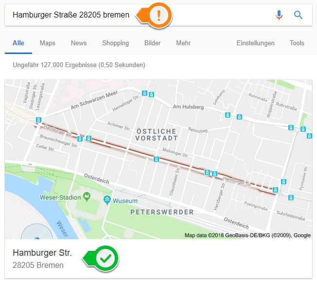Google Local Auswahl der korrekten Adresse