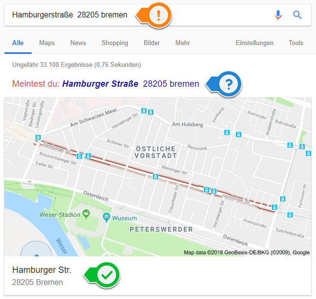 Google Local Auswahl der korrekten Adresse Vorschlag