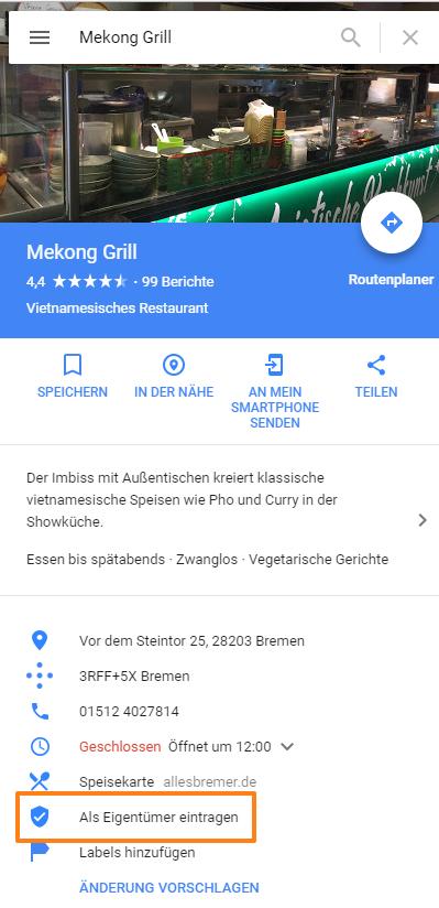 Google Maps unbestäigter Eintrag