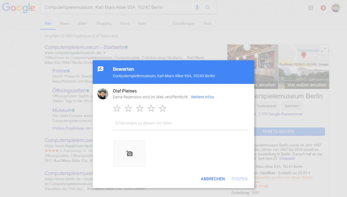 Google SERP Local Review Formular