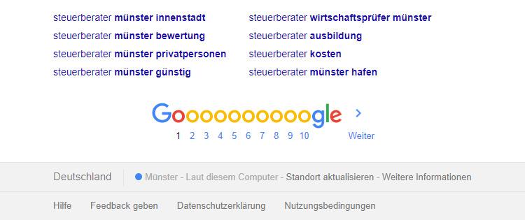 Google SERP nach der Anpassung der Geolocation