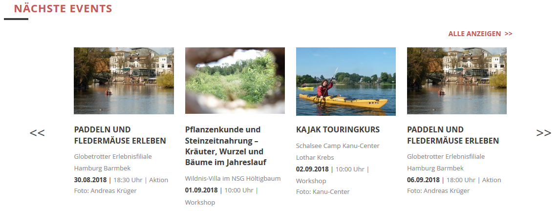 Eventkalender Globetrotter Hamburg Landingpage Integration