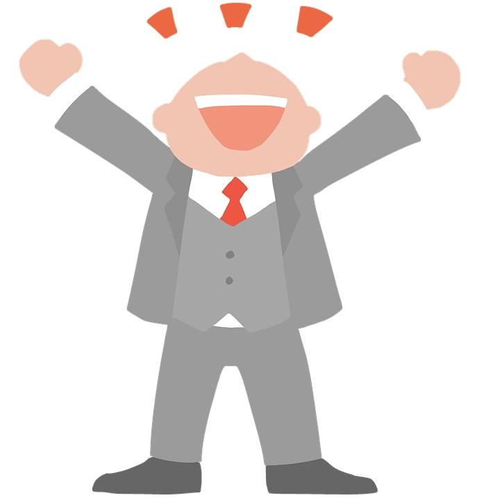zeichnung happy glücklicher mann jubeln