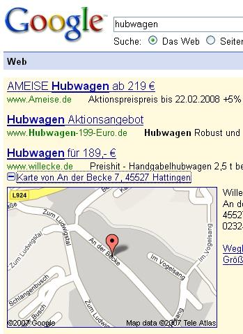 Google AdWords mit aufgeklapptem Google-Maps Ergebnis
