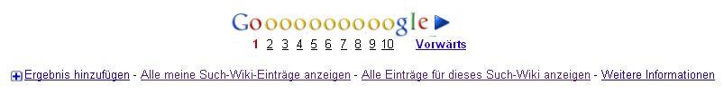 Aus dem Footer können die eigenen oder alle Einträge des Google Such-Wiki angezeigt werden.