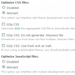 Einstellungsmöglichkeiten des Drupal Moduls CSS Gzip