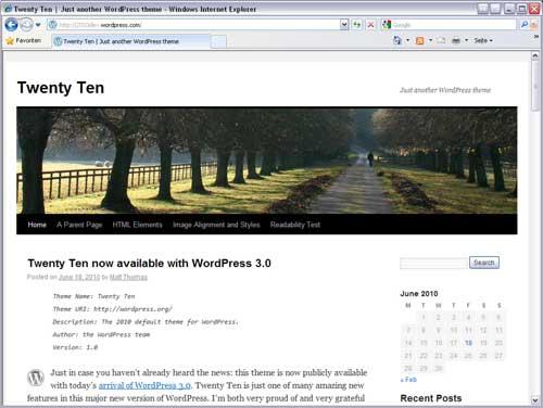 "Neues Standard-Template in WordPress 3.0 ""Twenty Ten"""