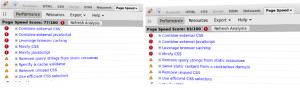 einfache MediaWiki-Seite vor und nach Aktivierung von mod_pagespeed - PageSpeed Bewertung