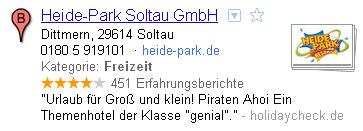 Google Places Eintrag des Heide-Park in Soltau
