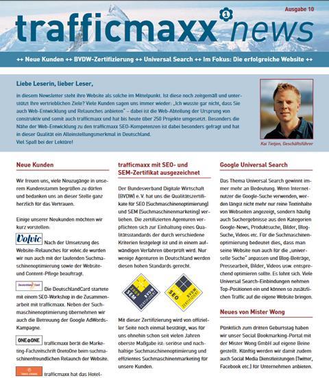 Newsletter 10: Ihre Website als Vertriebsinstrument
