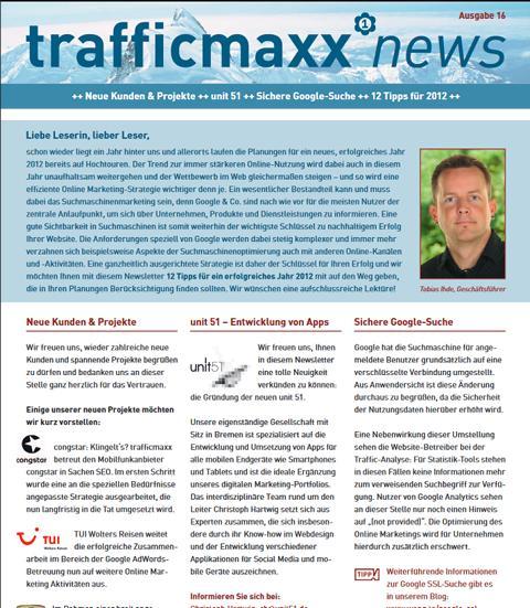 Newsletter 16: 12 Tipps für ein erfolgreiches 2012