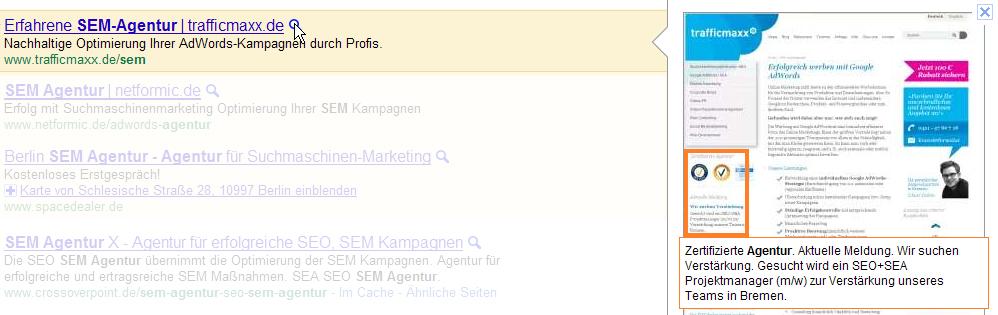 Google AdWords Anzeige mit Instant Preview