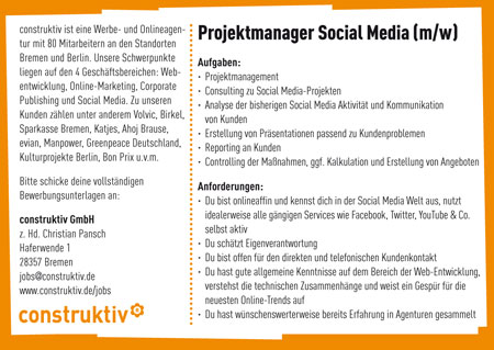 wanted social media projektmanager in