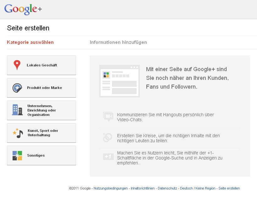 Kategorieauswahl der Google+ Seiten