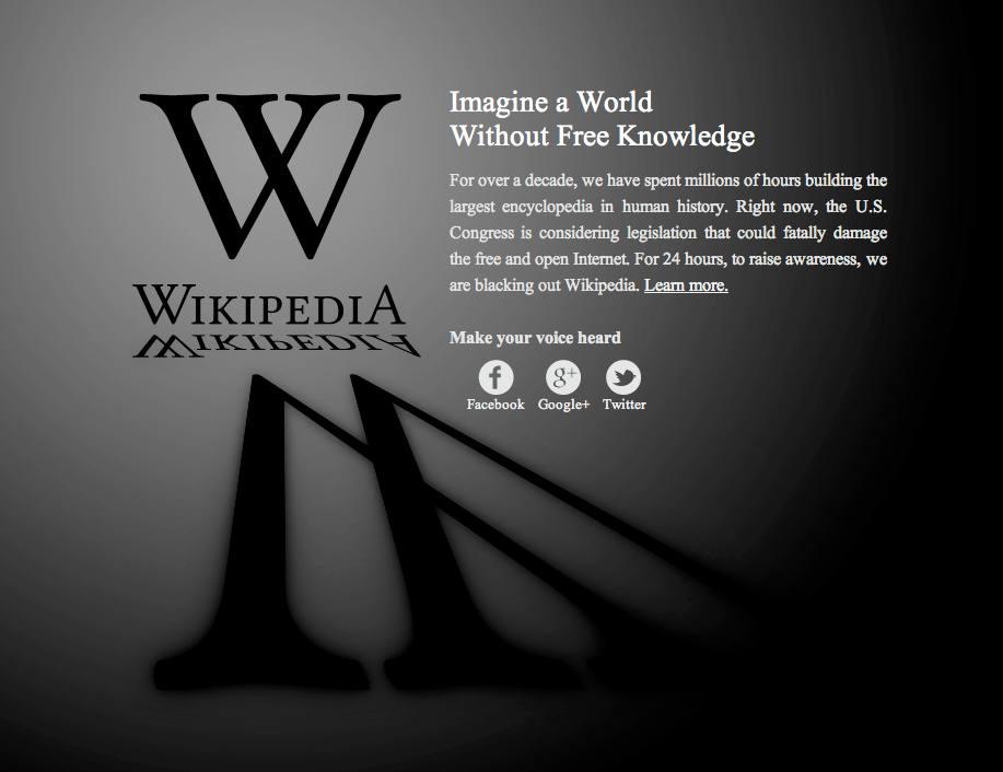 Wikipedia SOPA-Protest