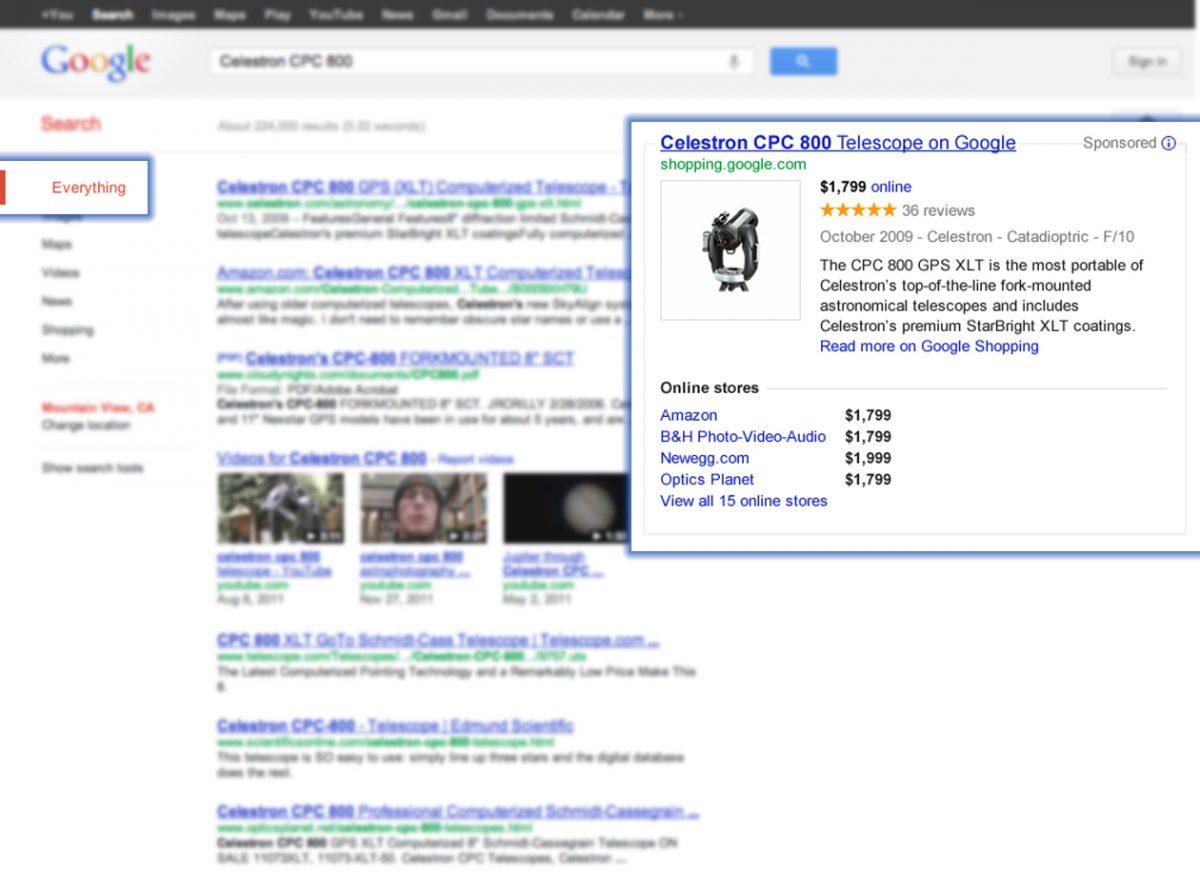 Google Shopping Einblendung einer stukturierten Übersicht