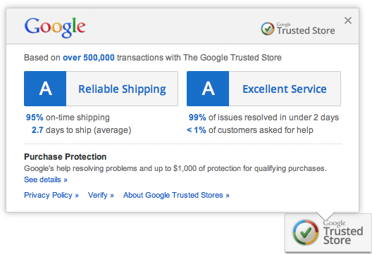 Bewertungsdetails bei Google Trusted Store