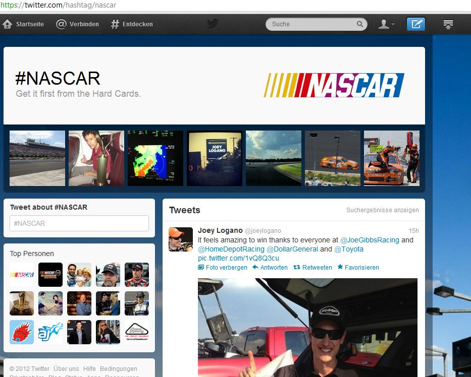 Neue Hashtag-Seite für NASCAR