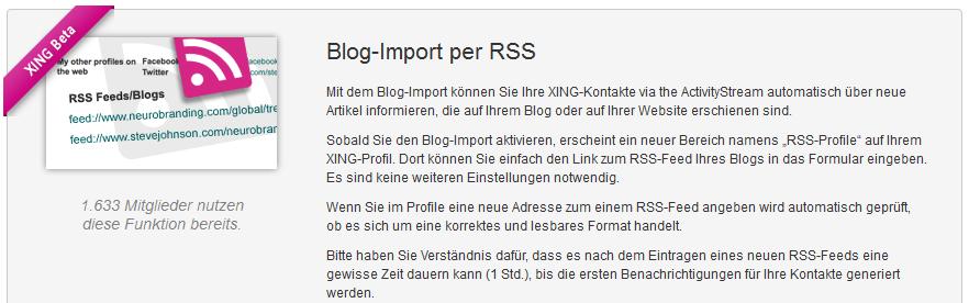 Die RSS-Funktion bei XING