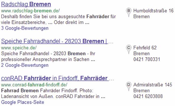 Google Suchtreffer in hybrider Darstellung