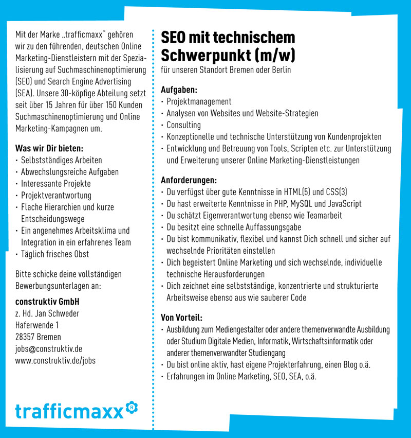 Jobs bei trafficmaxx / Suchmaschinenoptimierung + Online Marketing